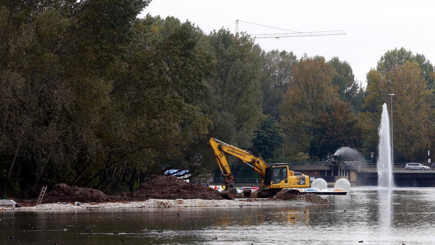 Es tut sich was an der Wasserwelt Wöhrder See: Noch wird am Südufer gebuddelt und gearbeitet, in einigen Wochen wird beim Norikus ein naturnaher Bach geflutet.