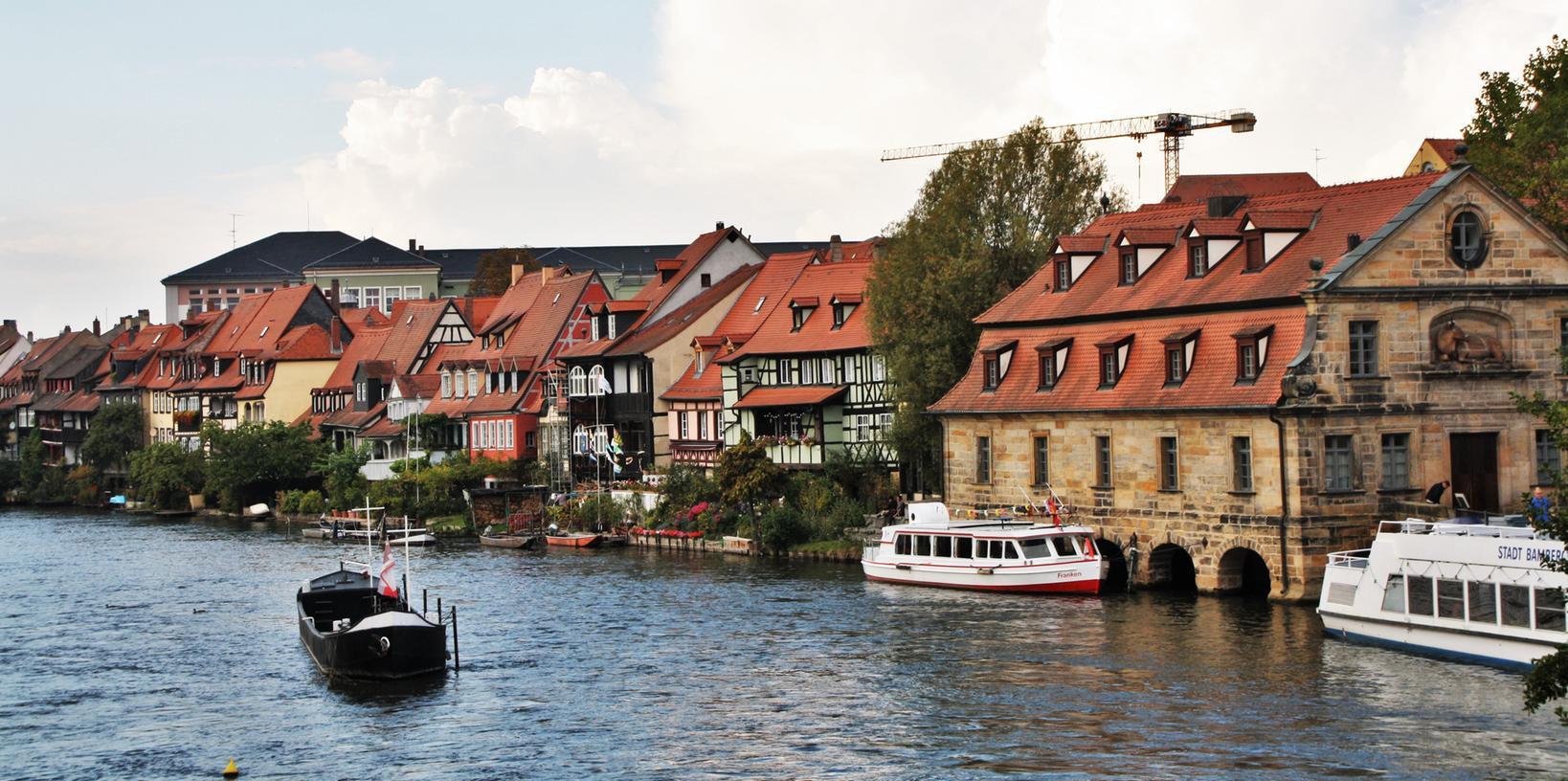 Der Blick von der Unteren Brücke auf ein Juwel Bambergs: Klein-Venedig.