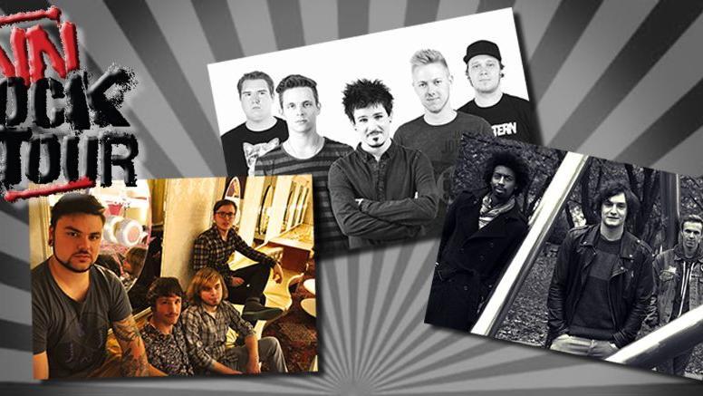 Die Bands Jetpack Elephants, Meloco und Filistine (von links) gehen gemeinsam auf die NN-Rocktour.