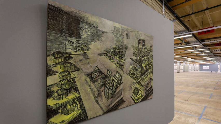 Die Stadt als Fundstätte von wenig wertgeschätzten Gegenständen: Von 11. Oktober bis 9. November können das obige und viele weitere Kunstwerke zum Thema Urban Mining im ehemaligen Quelle-Versandhaus begutachtet werden. Häufig üben die 45 Künstler, die mit ihren Werken aus etwa 100 eingereichten Arbeiten ausgewählt wurden, Kritik an unserer derzeitigen Wegwerfgesellschaft. Ausrangierte Gegenstände wurden von ihnen gesammelt und zu neuen Kunstwerken verarbeitet. Zu sehen sind Gemälde, Zeichnungen, Fotografien, Skulpturen, Installationen und Video-Arbeiten.