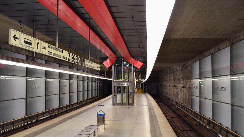 Nuernberg, 13.10.2014....Bahnsteig im U-Bahnhof Ziegelstein; für Sonderseite im  Lokalen über Entwicklung der Nürnberger U-Bahnhöfe......Ressort: Anzeiger  Lokales Foto: Alexander Pfaehler..