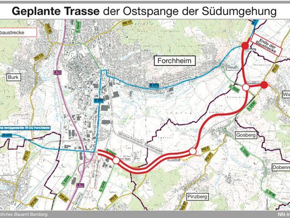 Der Verlauf der geplanten Ostspange der Südumgehung.