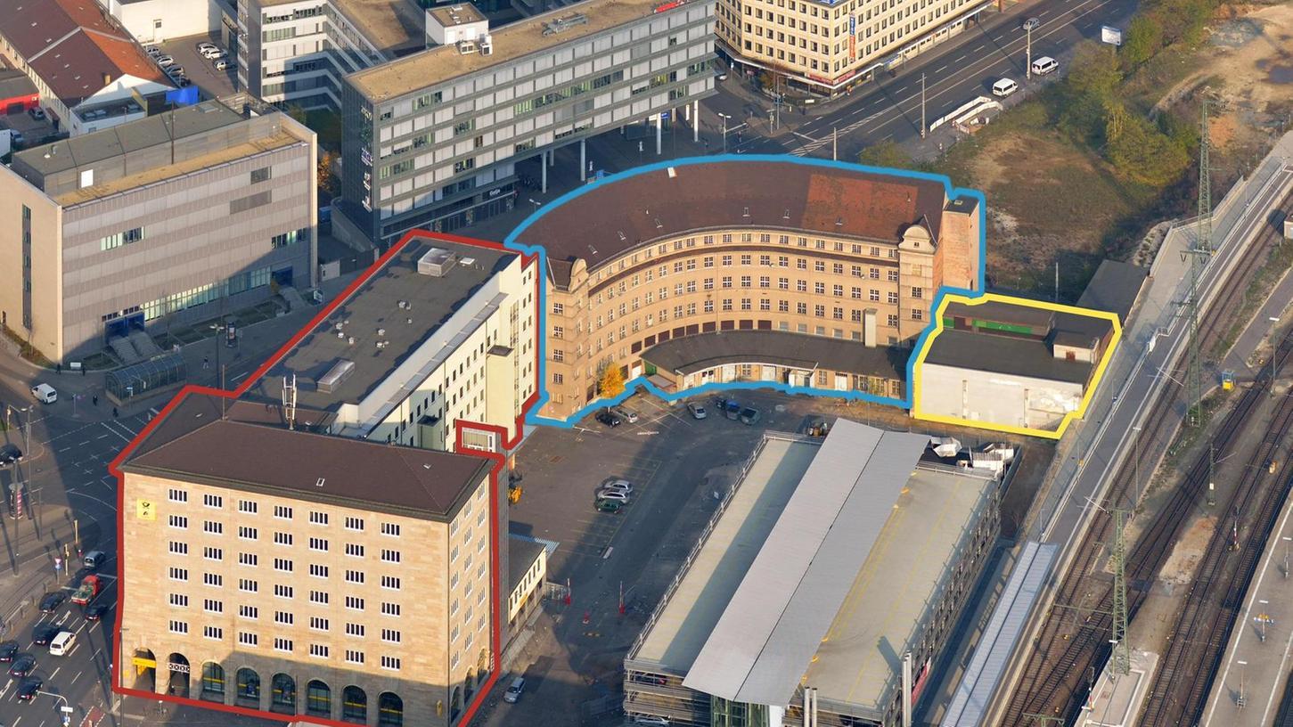 Im Rundbau sollen zwei Hotels und ein Kongresszentrum untergebracht werden. Geplant ist, die Rot und Gelb umrandeten Gebäudeteile abzureißen. Vom Rundbau (blau) bleiben nur die unter Denkmalschutz stehenden Fassaden und das Treppenhaus übrig. Das Gebäude wird entkernt.