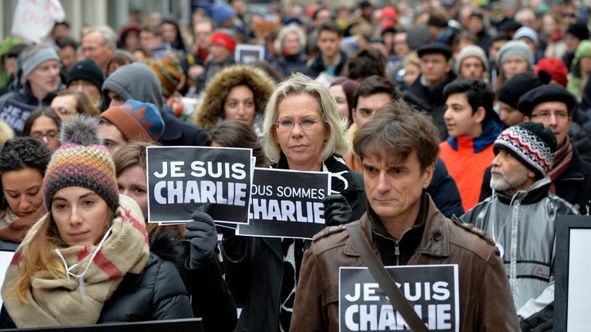 Solidaritätstreffen in Erlangen für Meinungsfreiheit und Charlie Hebdo