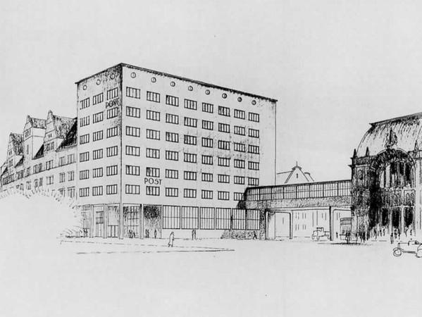 Der Entwurf für das Postgebäude von 1928/29 sieht für die neue Hauptpost ein nüchternes Gebäude mit Putzfassade vor.