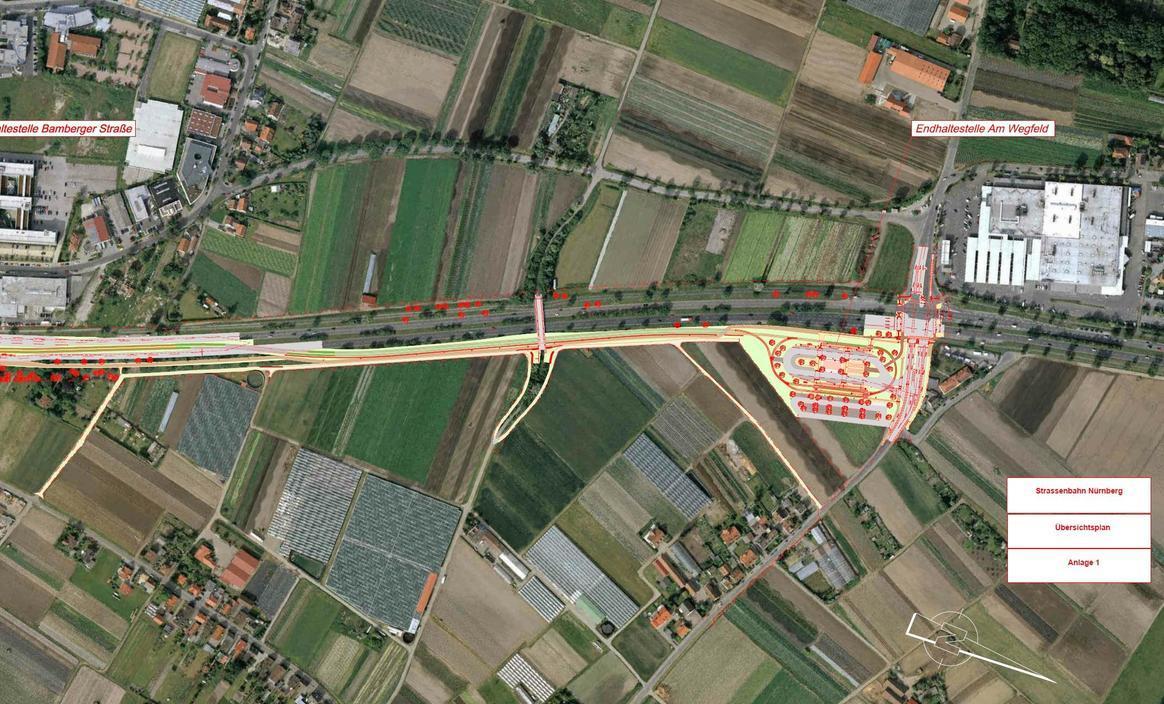 Der Plan zeigt den geplanten Neubau der Straßenbahnstrecke von Thon bis Am Wegfeld. Von dort soll eine U-Bahn-Verbindung zum Flughafen hergestellt werden.