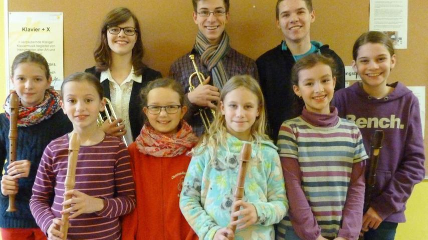 """Acht 1. Preise und einen 2. Preis haben die neun Schülerinnen und Schüler der Adolph-von-Henselt-Musikschule Schwabach eingeheimst, die beim Regional-Wettbewerb """"Jugend musiziert"""" in Nürnberg mit ihren Blockflöten, Trompeten und einer Klarinette allesamt als """"Solisten"""" gewertet wurden."""