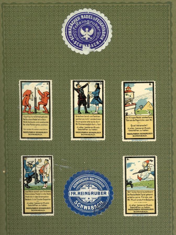 Einige Reklamemarken der Firma Reingruber aus der Zeit um 1920.
