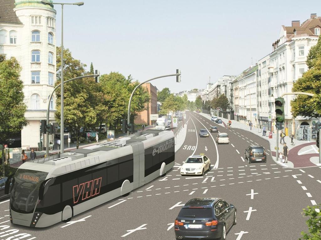 """An die Stadt Hamburg hat die Firma Van Hool gerade zwei der """"Trambusse"""" verkauft, die in Röttenbach vorgestellt wurden (hier eine Grafik der Verkehrsbetriebe). Grafik: VHH AG"""