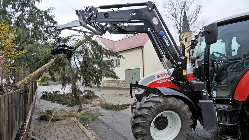 In Pölling entwurzelte der Sturm einen Baum.