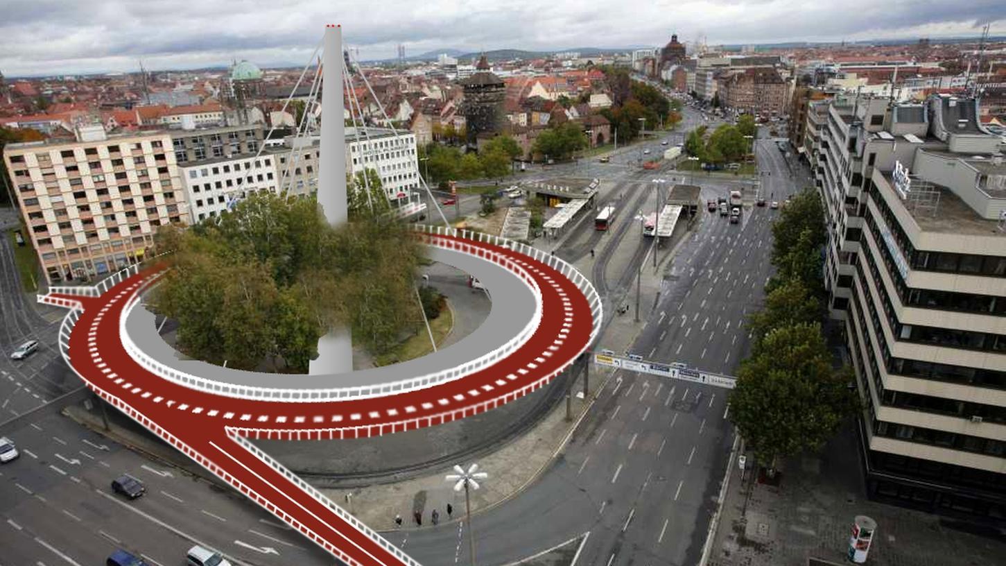So wird der Nürnberger Fahrradkreisel aussehen. Mitte 2016 soll das Projekt fertiggestellt sein.