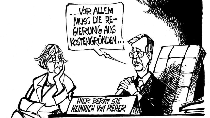 Für ihren Bundestagswahlkampf 2005 holt Kanzleramts-Anwärterin Angela Merkel von Pierer in ihr Berater-Boot.