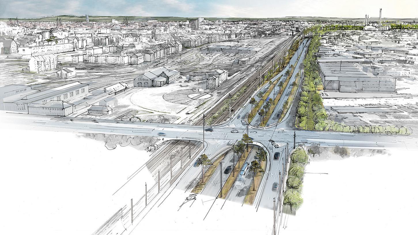 Noch existiert der kreuzungsfreie Frankenschnellweg nur auf Skizzen. Wenn die Bauphase startet, kommt auf Anwohner und Pendler einiges zu.
