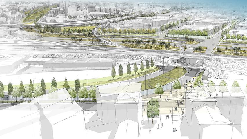 Die neue Kohlenhofstraße soll nach dem Ausbau den Verkehr zweispurig vom Frankenschnellweg in die Innenstadt führen. Im Bildhintergrund sind die neuen Verbindungsgleisbrücke der Bahn und der Park erkennbar.
