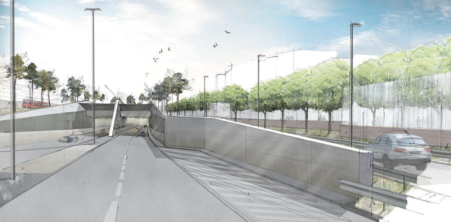 Der Frankenschnellweg soll hier zweispurig werden. Der Sockel der Lärmschutzwand auf der rechten Bildseite erinnert an die Ufermauern des Alten Kanals.