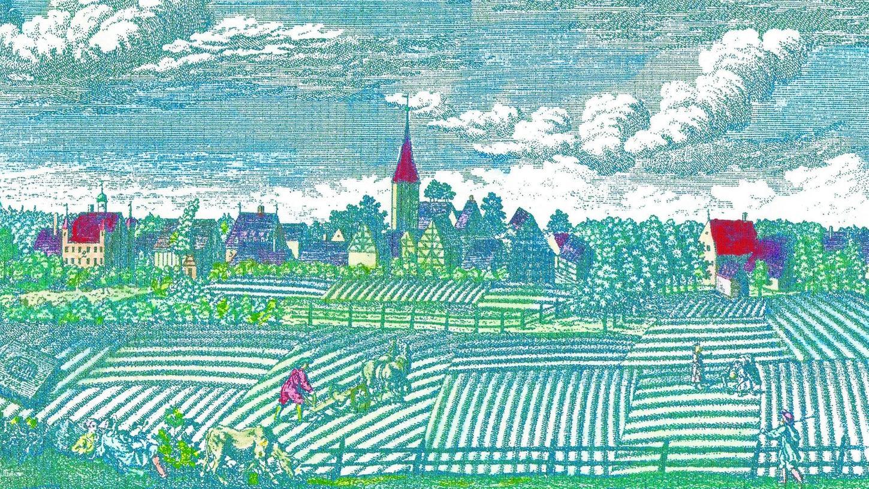 Das am Waldrand gelegene Dorf Tennenlohe, umgeben von Äckern und Wiesen, auf einem 1759 von Roth gefertigten kolorierten Kupferstich.