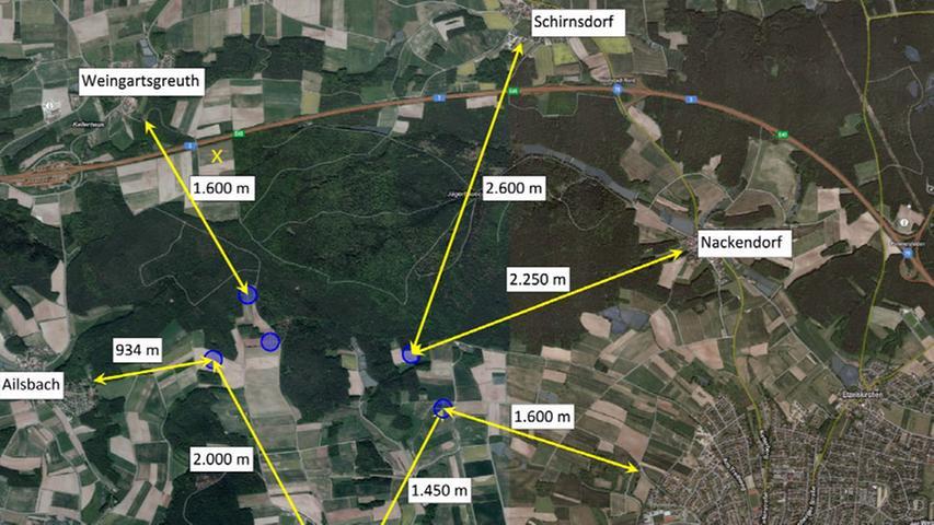 Ein Überblick über die Windräder Lonnerstadt.