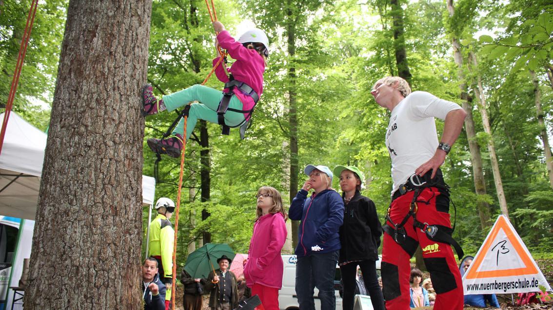 Ein großer Spaß für die Kleinen: An einem Baumstamm dürfen Kinder die Seilklettertechnik ausprobieren und sich vorsichtig nach oben ziehen.