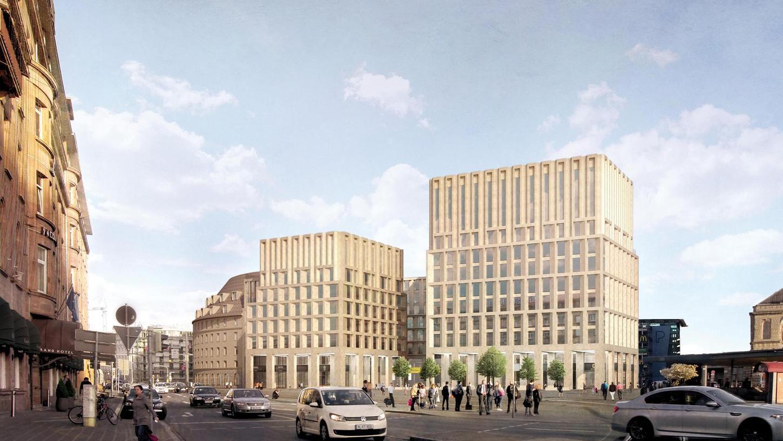 Das Büro von Max Dudler holte bei dem Wettbewerb den ersten Preis: Sollte der Entwurf verwirklicht werden, dann würde es eine neue Zufahrt zum Bahnhofsparkhaus geben. Die Fassade des Rundbaus bleibt bestehen.