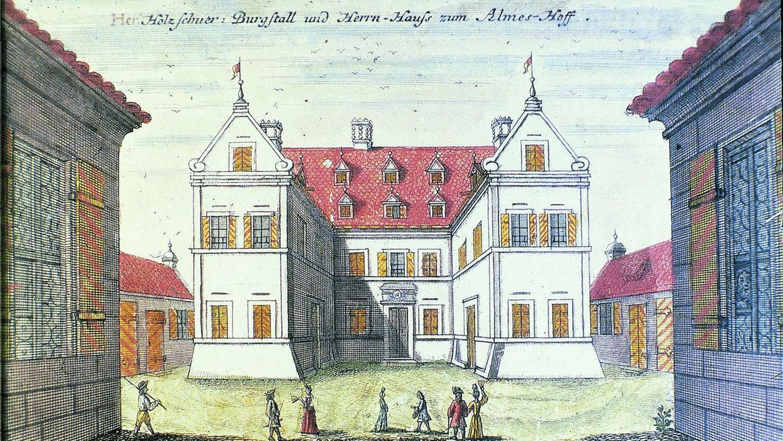 """Das 1693 erbaute Holzschuher-Schlösschen ist das einzige, das heute noch steht. 1708 wurde dieses """"Hesperidenblatt"""" gezeichnet, das den damaligen Neubau zeigt."""
