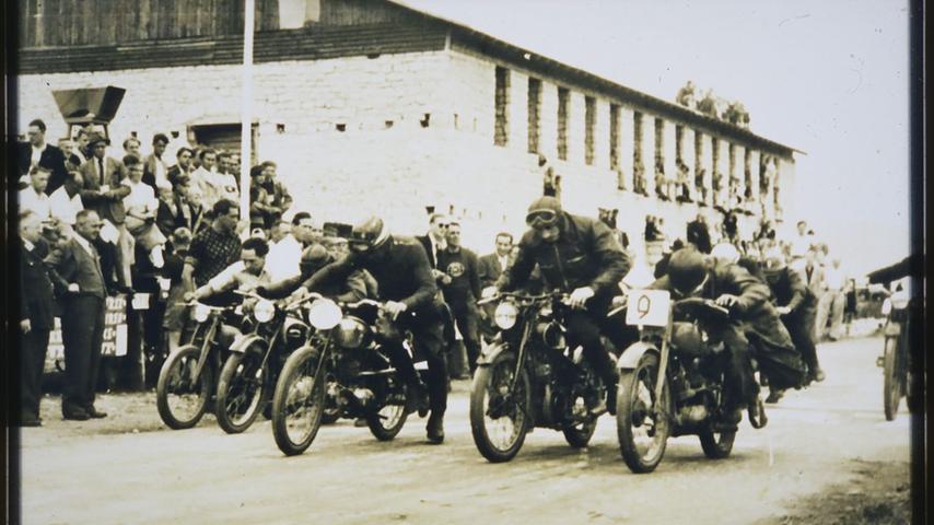 Start und Ziel waren beim Rennen 1950 am ehemaligen Sägewerk Schcmidt in der Nürnberger Straße.