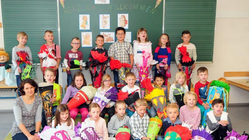 Schulanfang in der Klasse 1a der Pegnitzer Grundschule im ausgelagerten Teil in der Mittelschule.