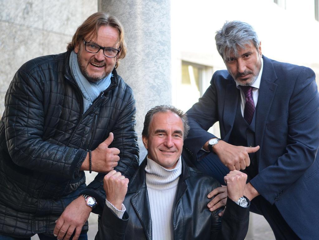 Dreharbeiten zu Macho Man 2 im Südwestpark Nürnberg, v. l. Peter Althof,  Christoph Zitzmann und Schauspieler Bülent Babayigit, 27.09.2015,  ToMa-Fotografie
