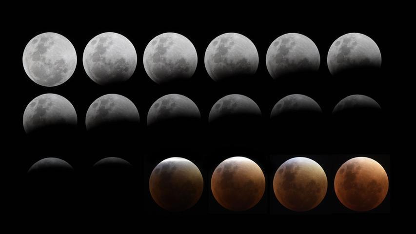 Diese achtzehn Fotos zeigen die verschiedenen Mondphasen aus der Nacht.