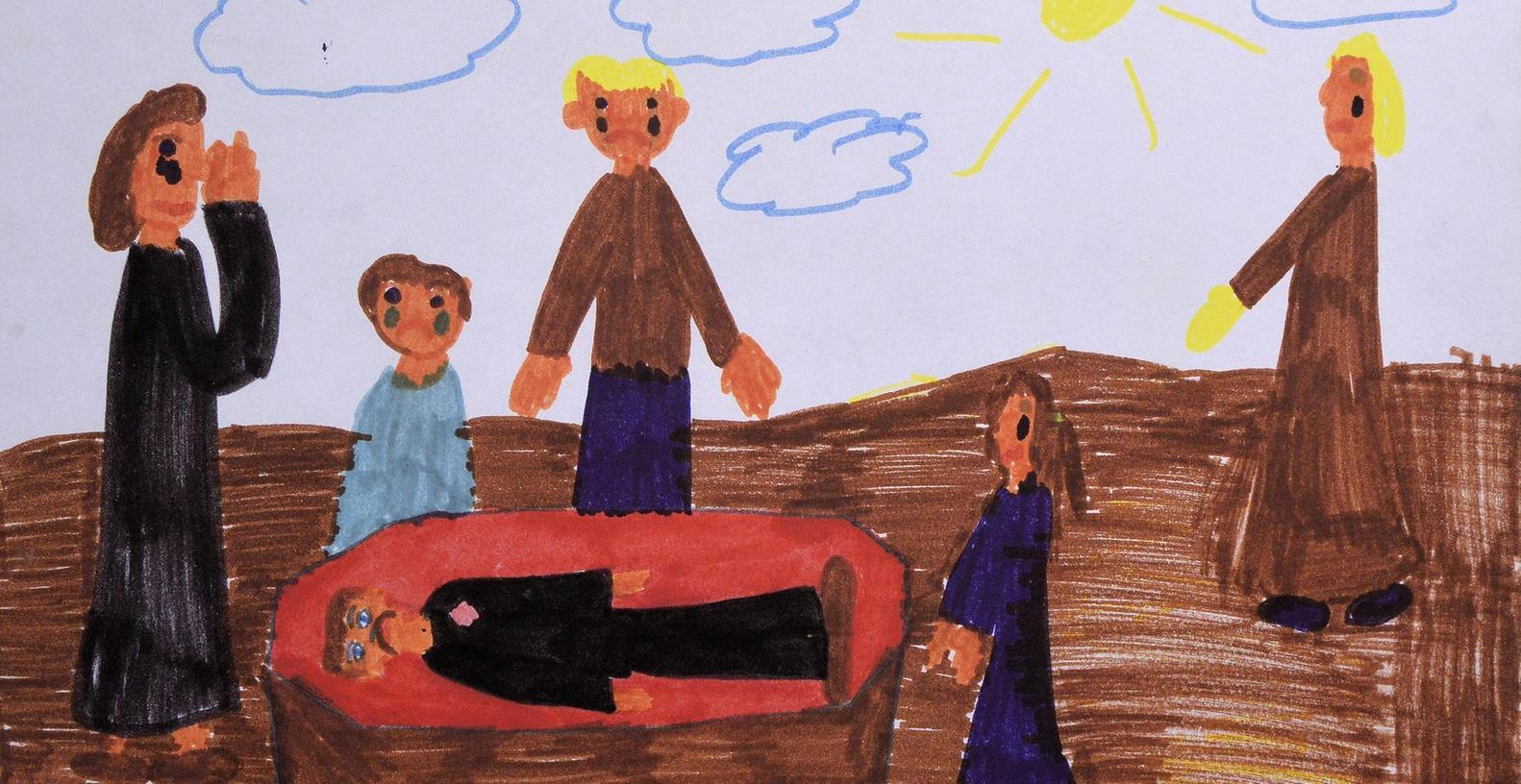 Tränen, Trauer, dunkle Farben — ein geliebter Mensch wird beerdigt. Berührende Kinderbilder zum Thema Sterben sind derzeit in der Evangelischen Hochschule zu sehen.