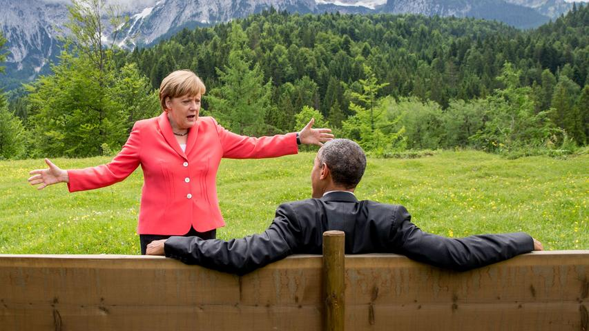 Mit Barack Obama, hier beim G7-Gipfel in Krün, verbindet Angela Merkel eine enge Freundschaft. Diese wurde durch die Enthüllungen des Whistleblowers Edward Snowden auf eine harte Probe gestellt. Merkel sagte zur NSA-Affäre: