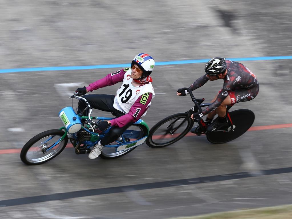 08.08.2015 --- Radsport --- Saison 2015 --- Deutsche Derny Meisterschaft ---  Foto: Sport-/Pressefoto Wolfgang Zink / MaWi --- ....Stefan Schäfer / Peter  Bäuerlein (Cottbus / Nürnberg)
