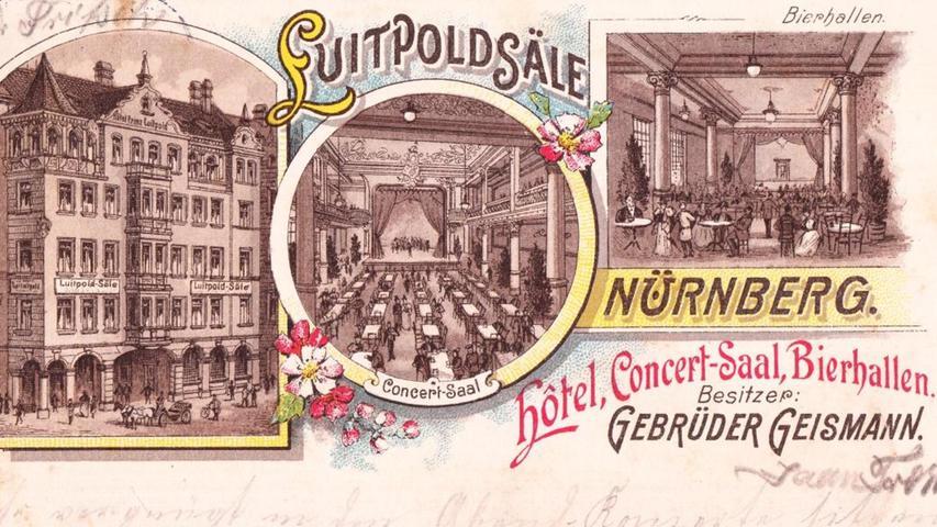 Leserin Lydia Schmidt-Wagon aus Nürnberg hat uns diese historische Postkarte zugeschickt. Sie zeigt die Luitpoldsäle um das Jahr 1900 herum. Damals wurden sie von den Gebrüdern Geismann aus Fürth betrieben. Es war das Zentrum des Amüsements, ein Kino-Areal mit Bierhalle. Heute steht an gleicher Stelle ...