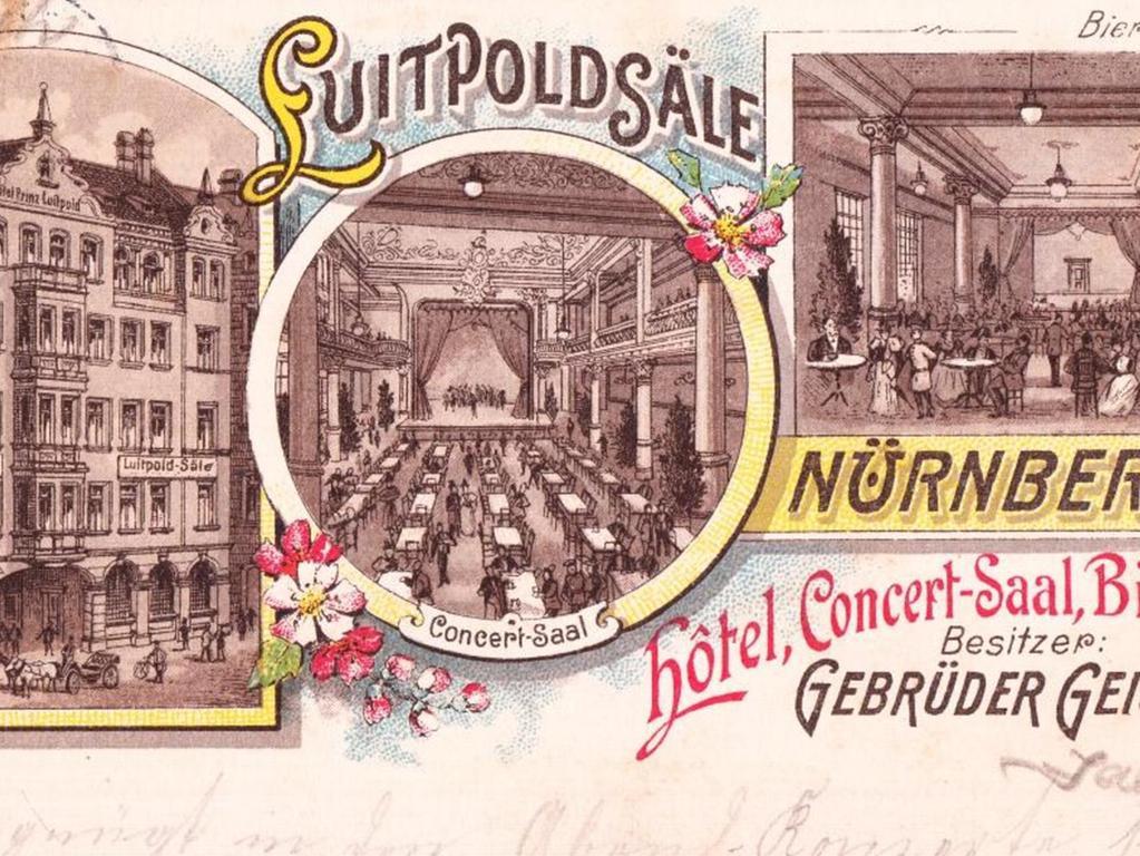 NZ-Leserin Lydia Schmidt-Wagon aus Nürnberg hat uns diese historische Postkarte zugeschickt. Sie zeigt die Luitpoldsäle um das Jahr 1900 herum. Damals wurden sie von dem Gebrüdern Geismann aus Fürth betrieben.