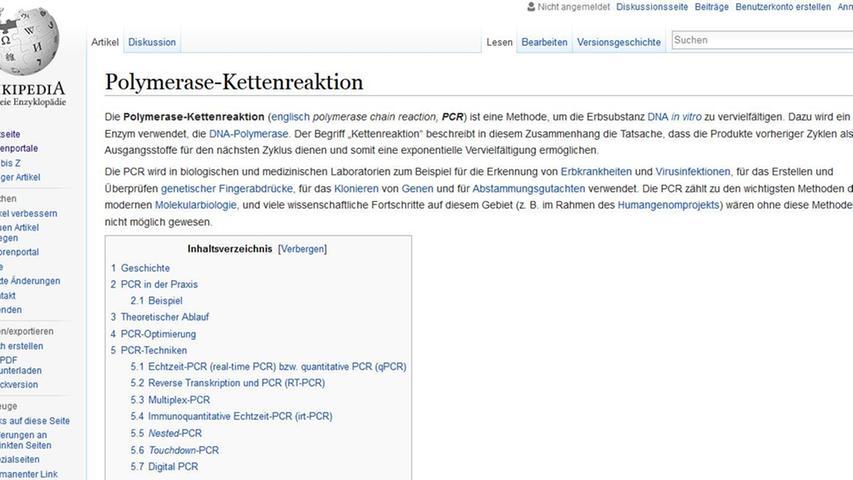 Der erste Artikel der deutschsprachigen Wikipedia drehte sich um die Polymerase-Kettenreaktion (PCR). Es folgten Einträge über Dänemark, das Kattegat und die Nordsee.