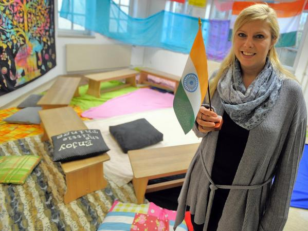 Die Idee zu einer Indien-Projektwoche hatte Lehrerin Jasmin Peetz. Auch das Klassenzimmer wurde entsprechend eingerichtet.