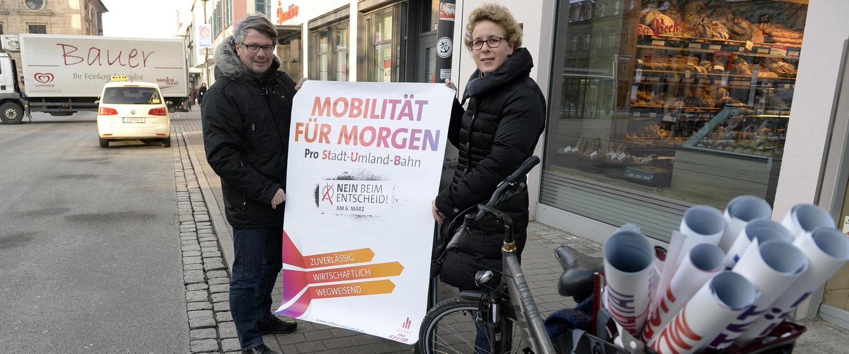 """Der Bürgerentscheid Anfang März rückt näher. Nun wollen der SPD-Kreisvorsitzende Dieter Rosner und die Grünen-Stadträtin Julia Bailey mit der """"Allianz pro StUB"""" für das Projekt werben."""