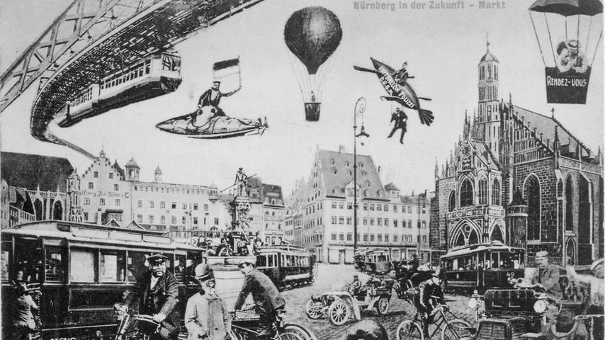 Schwebebahn, Luftgefährte, Automobile und Zweiräder - Auf dieser Postkarte wird für Nürnbergs Zukunft ein vielseitiges Angebot an Verkehrsmitteln dargestellt. Die Karte soll aus den 1920er Jahren stammen und illustriert eine Vision für die Nürnberger Innenstadt, die sich teilweise sogar erfüllte.