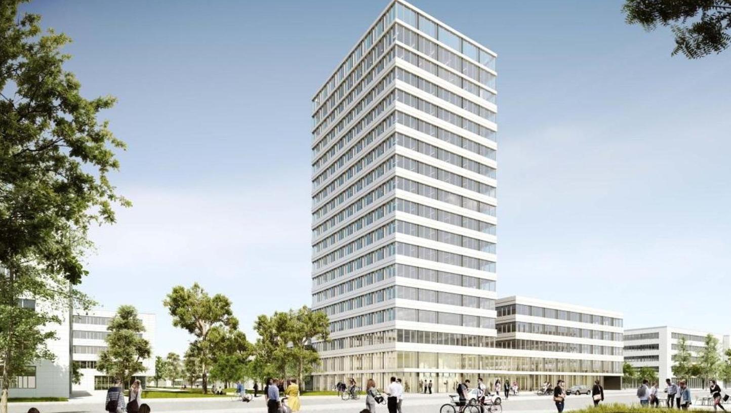 Gezeigt wurden bei der Präsentation auch neueste Bilder von Gebäuden, die auf dem Campus-Gelände errichtet werden sollen. Darunter auch dieses Hochhaus.