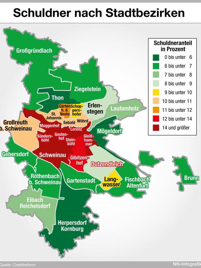 Die meisten Schulden haben die Menschen, die in den zentralen Stadtteilen wohnen.