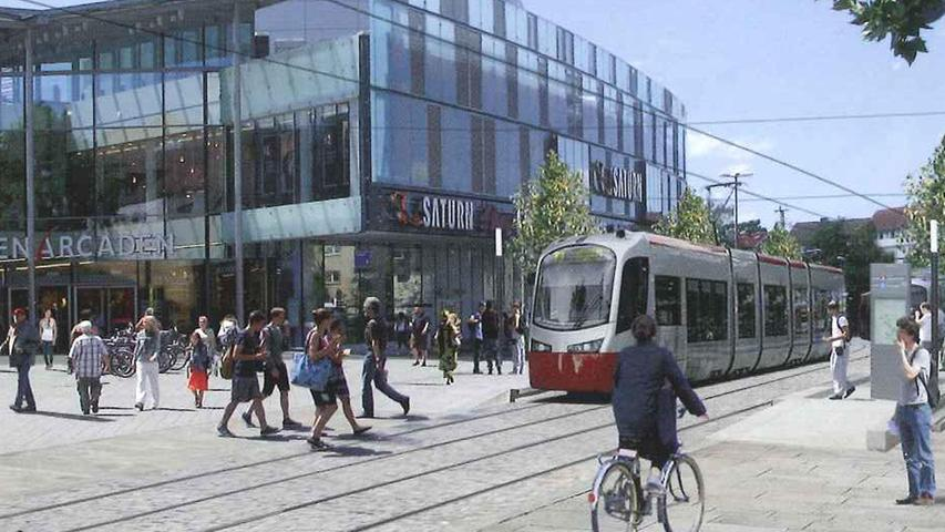In Erlangen soll die StUB-Trasse sich teilen und in den Landkreis-Westen und -Osten gleichermaßen fahren.
