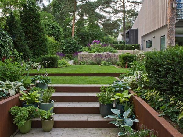 Die Pflanzen lassen den ganzen Garten mit seinem formalen Grundkonzept nicht hart, sondern klar strukturiert erscheinen. Mit wuchtigen Blockstufen gestaltete Heidrich die Anlagen am Eingang zum Haus.