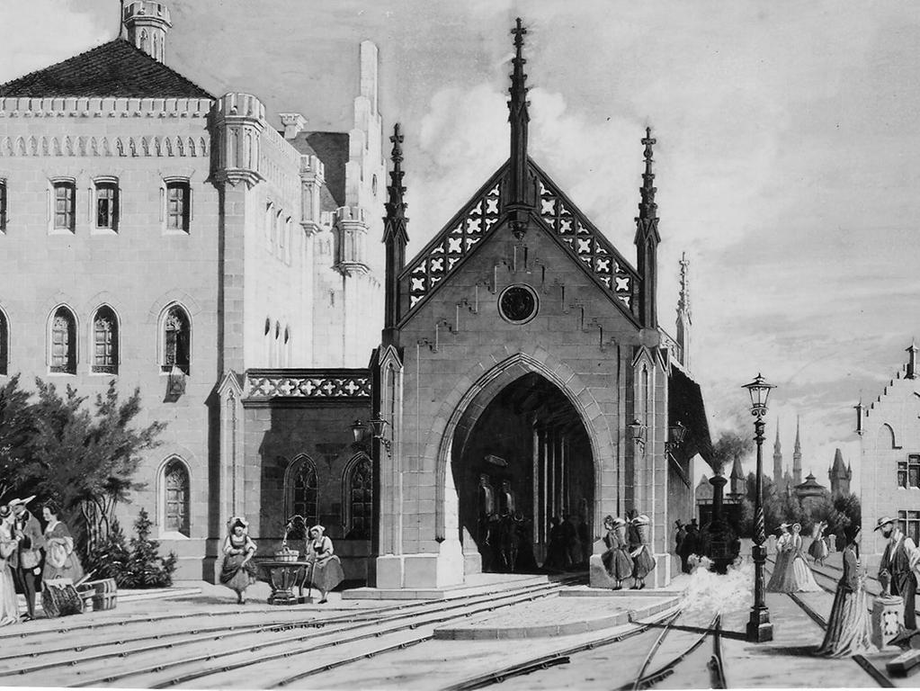 Wie eine gothische Kathedrale sah die erste Version des Hauptbahnhofs aus, die zwischen 1844 und 1847 fertiggestellt wurde. Da der Ludwigsbahnhof der privat betriebenen Ludwigseisenbahn am Plärrer schnell zu klein wurde, musste ein größerer, zentral gelegener Anlaufpunkt her. Durch die Eröffnung der Staatsbahnstrecken nach Schwabach (1849), Ansbach (1875), Bayreuth (1877) sowie der Ostbahnstrecken nach Hersbruck (1859) und Regensburg (1871) entwickelte sich der zunächst noch als Kopfbahnhof gebaute Bahnhof schnell zum Zentralbahnhof Nürnbergs.