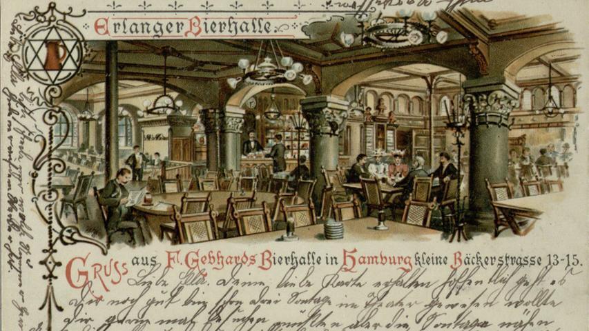 Das Erlanger Bier wurde im 19. Jahrhundert im gesamten Deutschen Reich, aber auch in die Schweiz, Frankreich, Spanien, England, Skandinavien, Nord- und Südamerika und Australien exportiert. Die Erlanger Bierhalle im Hamburg des Jahres 1904, die auch ein Export-Lager der Henningerschen Brauerei Erlangen war, zeigt zudem eines: am bürgerlichen Biertisch waren Frauen keine Ausnahme.