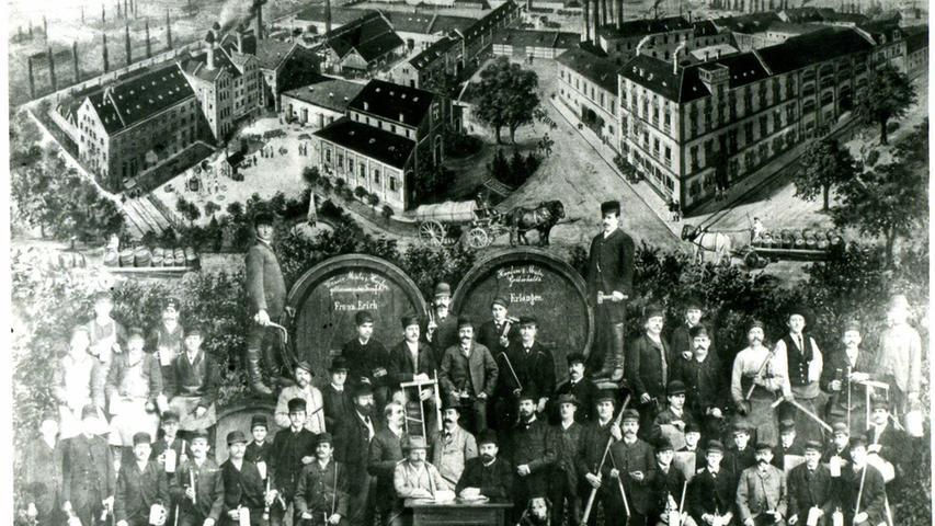 Diese Reproduktion nach Originalaufnahme um 1880/85 zeigen die Familie Erich und im Hintergrund die Produktionsstätten.