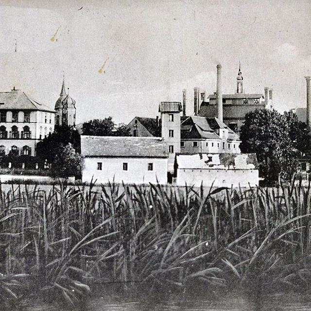 """Das Historische Foto aus der Zeit um 1910 zeigt die damals beherrschende """"Skyline"""" der Schlöte der Brauerei Schäff. Damals floss die Altmühl (im Vordergrund) noch unbegradigt an der Stadt vorbei."""