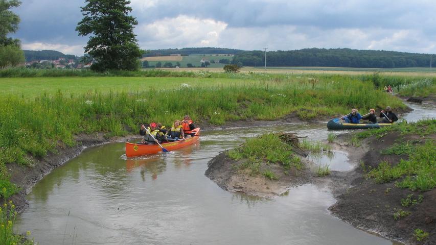 Seit zehn Jahren werden vom Wasserwirtschaftsamt Ansbach für die Aktion BayernTourNatur Bootstouren organisiert, um der Bevölkerung die umgestalteten Gewässerabschnitte der Mittleren Altmühl in unterschiedlichen Entwicklungsstadien vorzustellen.