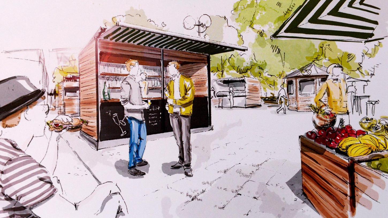 Ein erster Vorschlag: So oder ähnlich könnten die Stände des Wochenmarkts aussehen.