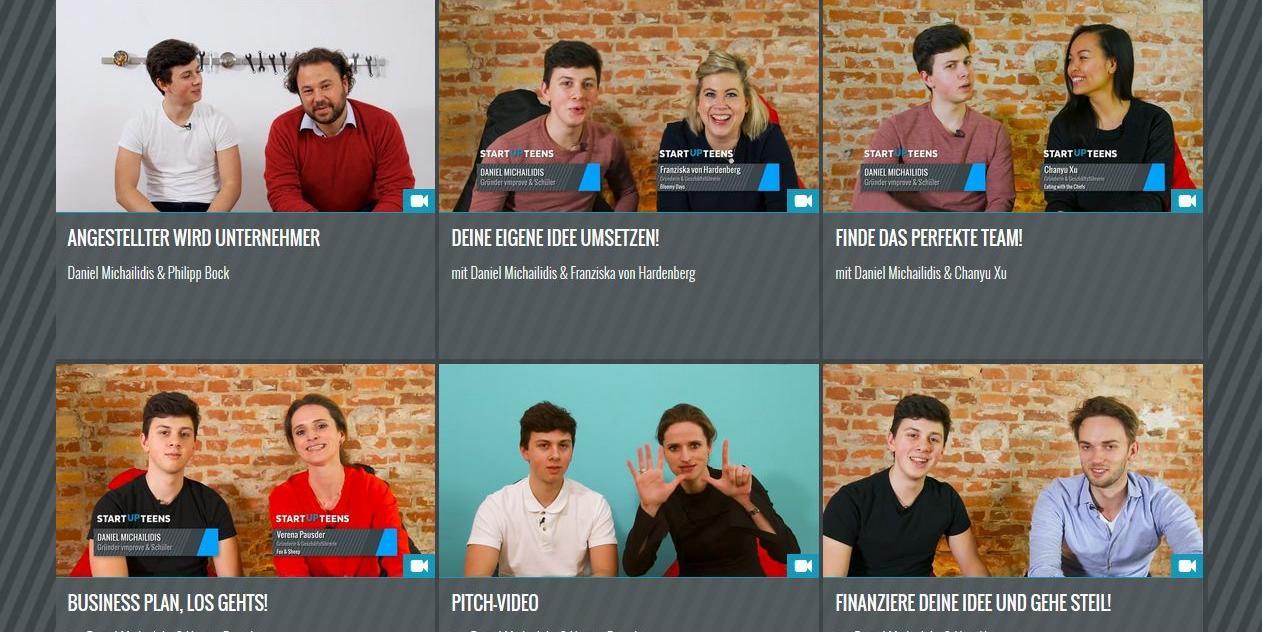 """Ein Baustein der """"Start up Teens""""-Website sind Video-Tutorials, in denen erfolgreiche Unternehmer mit euch ihr Wissen teilen."""