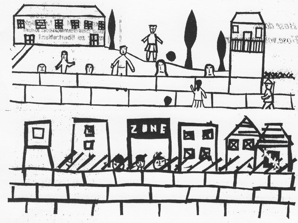 Ein auf vielen Schülerarbeiten wiederkehrendes Motiv. Während im Westen (oben) pulsierendes Leben herrscht, dominiert in der Zone (unten) hinter dem von Soldaten bewachten Wall die Öde.^