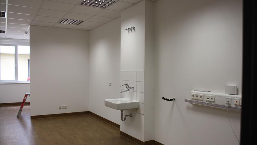 Ab dem Wochenende werden in diesem Zimmer in der interimen Pflegestation die Krankenpflegerinnen anzutreffen sein.